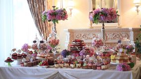 Candy bar at a wedding.  stock video footage