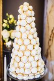 Delicious wedding reception candy bar dessert table. Candy bar and wedding cake. Table with sweets, buffet with cupcakes, candies Royalty Free Stock Images