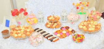 Candy bar. Wedding candy bar with a great variety of sweets Stock Image