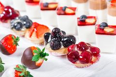 Candy bar. Wedding reception table with sweets, candies, dessert. Meringues, fruit tart, cupcakes royalty free stock photography