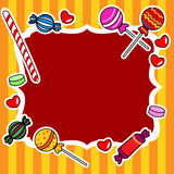 Candy billboard or sign. Cute and fun hand drawn candy or other sweets over stripped background, perfect for a kid's birthday wish or invitation card,circus Stock Photo
