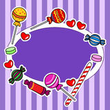 Candy billboard or sign in purple colors. Cute and fun hand drawn candy or other sweets over stripped background, perfect for a kid's birthday wish or invitation Royalty Free Stock Photography
