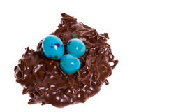 Candy bird nest with blue eggs Royalty Free Stock Images