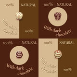 Candy in black and white chocolate. Set. Stock Image