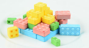 Candy blocks. Candy in the shape of toy building blocks Royalty Free Stock Photo