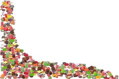 Candy Border. Photo of Various Types Jelly and Chocolate Candy - Candy Border stock image