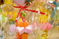 Candy bouquet. A sweet bouquet wrapped in cellophane Stock Images