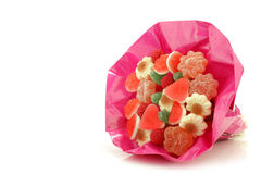 Candy bouquet in shiny pink wrapping Stock Image