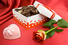 Candy box and rose. Royalty Free Stock Image