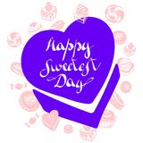 Candy box sweetest day logo, simple style vector illustration