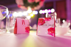 Candy box at wedding. Candy box on the table at an indoor wedding party Royalty Free Stock Photo
