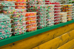 Candy boxes on store shelf Royalty Free Stock Image