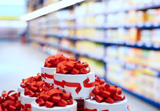 Candy boxes in supermarket Stock Image