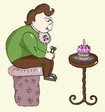 Candy boy with cake. Funny cartoon candy boy eating birthday cake Stock Images
