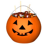 Candy bucket, halloween pumpkin. 3d illustration isolated on the white background Royalty Free Stock Photo