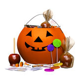 Candy bucket, halloween pumpkin. 3d illustration isolated on the white background Royalty Free Stock Photography