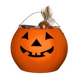 Candy bucket, halloween pumpkin. 3d illustration isolated on the white background Stock Photo