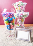 Candy Buffet. Close up view of all the colorful sweet and tasty candy on a candy buffet and desert table at a party Stock Photo