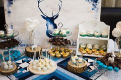 Candy buffet Scandinavian style. Candy buffet and desert table in Scandinavian style Royalty Free Stock Images