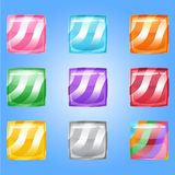Candy button glossy jelly square in different color. 2d asset for user interface GUI in mobile application or casual video game. Vector for web or game design Royalty Free Stock Photos