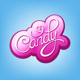 Candy Calligraphic label. Candy pink handwritten calligraphic label Royalty Free Stock Photo