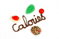 Candy Calories. Chocolate calories with colorful candies stock image