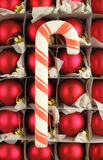 Candy Cane. A candy cane with Christmas ornaments on the background stock photography