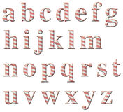 Candy Cane Alphabet. Digital illustration of a candy cane alphabet: Lower Case Letters Stock Photo