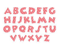 Candy cane alphabet font red white and pink colour Stock Photos