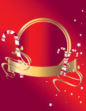Candy cane background 1. Candy cane banner and frame on a red background with stars Royalty Free Stock Photos