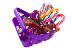 Candy-cane basket Stock Images