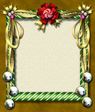 Candy cane-bell frame. Beautiful holiday candy cane frame festooned with golden ribbons & silver bells Royalty Free Stock Images