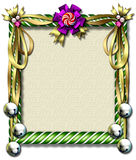 Candy cane-bell frame. Beautiful holiday candy cane frame festooned with golden ribbons & silver bells Royalty Free Stock Image