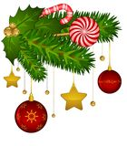 Candy cane and bolls Stock Photos