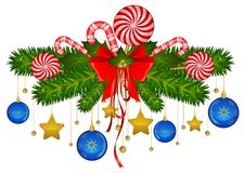 Candy cane and bolls Stock Photography