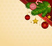 Candy cane and bolls Royalty Free Stock Images