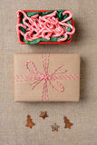 Candy Cane Bowl Gift Ornaments Stock Photography