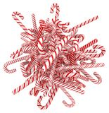 Candy Cane Bunch. Candy canes striped red, 3d illustration, horizontal, isolated, over white Stock Image