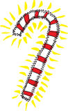 Candy Cane Burst. Hand drawn and painted candy cane burst with squiggly border and yellow burst Stock Illustration