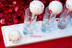 Candy Cane Cake Pops Stock Photo