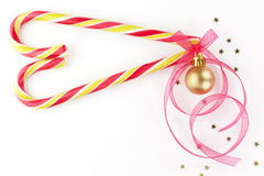 Candy cane christmas background with copy space. Royalty Free Stock Photos
