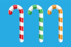 Candy cane. Christmas candy. Lollipop stick sweetness candycane. Happy new year decoration. Merry christmas holiday. New year and xmas celebration. Vector stock illustration