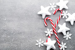Candy cane. Christmas decors with gray background. Stock Image