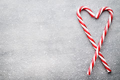 Candy cane. Christmas decors with gray background. royalty free stock photography