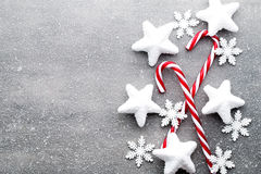 Free Candy Cane. Christmas Decors With Gray Background. Stock Image - 78191221