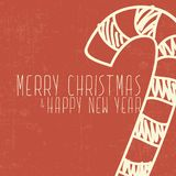 Candy cane christmas and happy new year card. Candy cane christmas and happy new year red orange card Stock Image