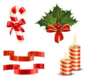 Candy Cane, Christmas Holly, Ribbons and Candles Royalty Free Stock Photography