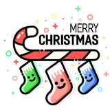 Candy cane with christmas stockings Xmas decorations, sugar stick. Flat line style. Vector merry greeting card. New year. Festive design. Cute socks character vector illustration