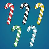 Candy cane christmass striped set on blue background. New year c. Ollection of colorful sticks for decoration your site. Candycane icons kit Stock Photography