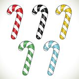 Candy cane christmass striped set on white background. New year. Collection of colorful sticks for decoration your site. Candycane icons kit Stock Photo